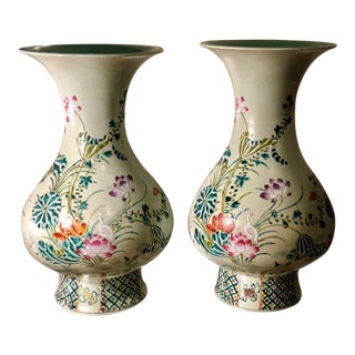 Pair of Antique Green Art Deco Chinese Pottery Vases For Sale
