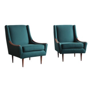 Vintage Mid Century Folke Ohlsson Wingback Lounge Chairs- A Pair For Sale