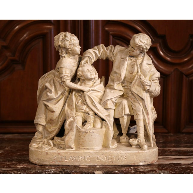 "19th Century American Cast Plaster Sculpture ""Playing Doctor"" Signed John Rogers For Sale - Image 13 of 13"