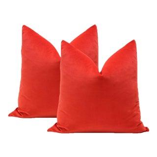 "22"" Vermillion Red Velvet Pillows - A Pair For Sale"