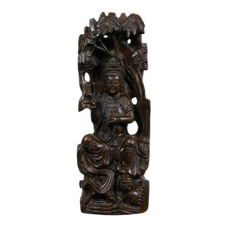 Early 20th Century Antique Chinese Wood Carved Kwan Yin Statue For Sale
