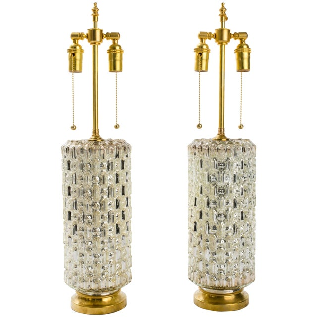 Textured Cylindrical Mercury Glass Lamps For Sale In New York - Image 6 of 6