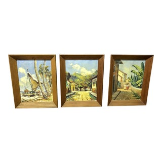 Caribbean Oil Paintings - Set of 3 For Sale