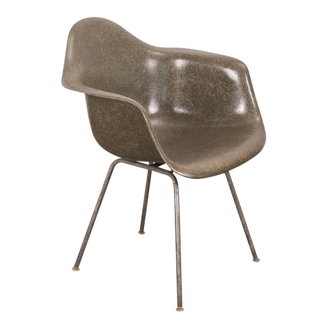 Eames Olive Green Fiberglass Armshell Chair For Sale