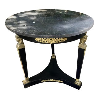 French Empire Style Marble Top Pedestal Side Table For Sale