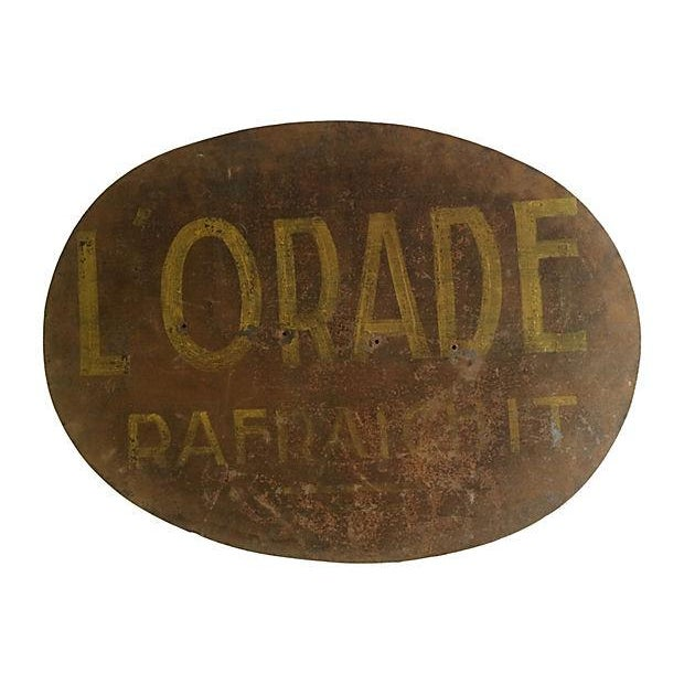 Large French Hand-Painted Metal Sign For Sale