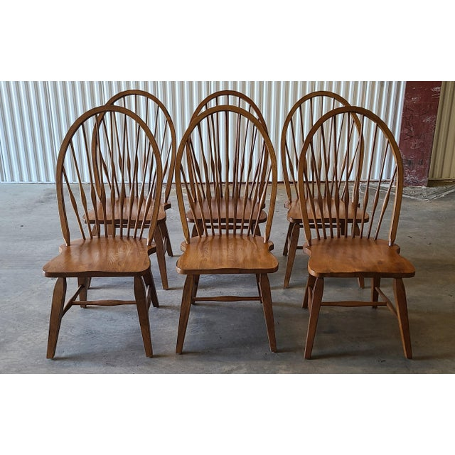 Contemporary Broyhill Furniture Attic Heirlooms Dining Kitchen Set ~ Solid Oak Table W/ 6 Windsor Side Chairs For Sale - Image 3 of 13