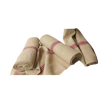 Vintage Organic Hemp Upholstery Washed Linen Grain Sack Fabric - 28 Yds - Set of 3 For Sale