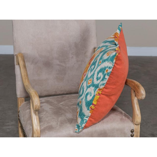 Chenille and Linen Pillow With A Bright Ikat Motif Design - Image 3 of 4