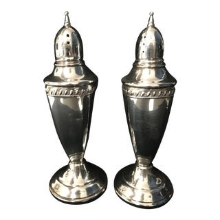 Vintage, Weighted Sterling Silver Large Pepper and Salt Shakers For Sale