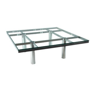 "1970s Mid-Century Modern Tobia Scarpa ""Andre"" Glass & Chrome Coffee Table For Sale"