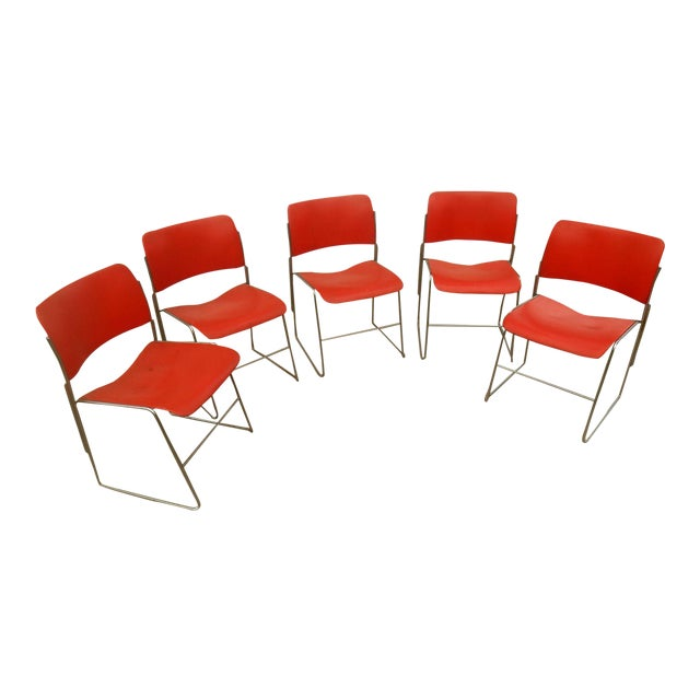 1970s GF Business Furniture 40/4 Orange Chairs - 5 For Sale