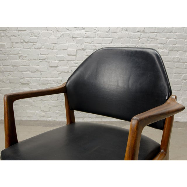 Mid-Century Scandinavian Design Teak Wood and Leather Side / Desk Chair, 1960s For Sale - Image 6 of 11