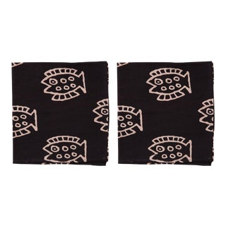 Countryside Fish Napkins, Black - A Pair For Sale
