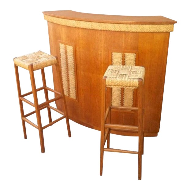 Audoux-Minet Riviera Rarest Rush and Oak Bar With Two Bar Stools For Sale