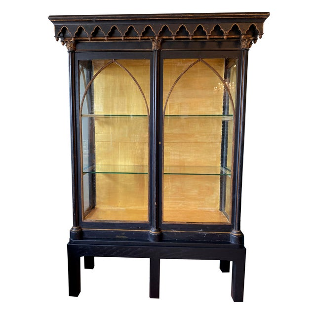 Antique Gothic Style Cabinet For Sale In Dallas - Image 6 of 6