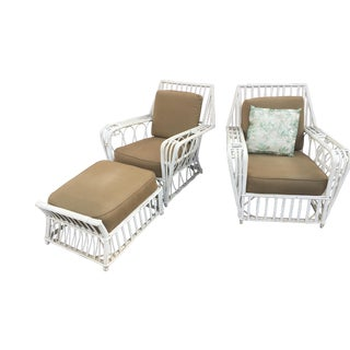 1920s Vintage Art Deco Ficks Reed Club Chairs and Ottoman - Set of 3 For Sale