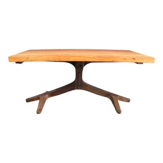 Modern Design Free Form Steel & Cherry Dining Table For Sale