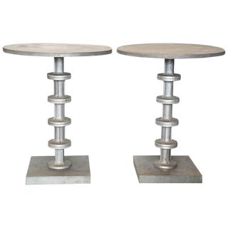 Pair of Cast Aluminum Side Tables For Sale
