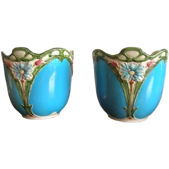 Blue Majolica Vases - Pair For Sale