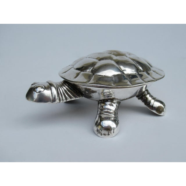 Vintage Silver Plate Lidded Turtle Keepsake Box For Sale - Image 4 of 13
