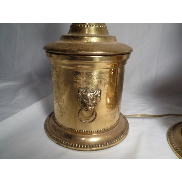 Brass Lion Head Hollywood Regency Lamps - A Pair - Image 4 of 6
