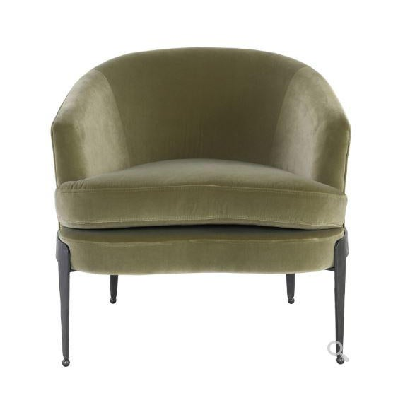 Aurelia Moss Green Chair With its graceful curves and velvety upholstery cover, this barrel-style chair adds a classic...