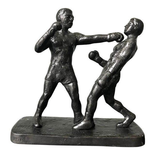 1970s Vintage Spectrum Arts Brutalist Boxing Greg Wyatt Cast Bronze Statuttete For Sale