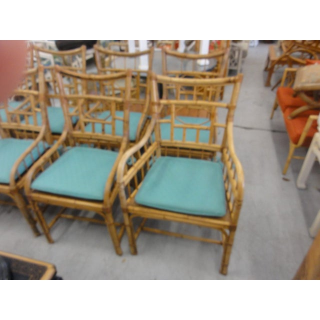 Mid-Century Modern Vintage Geometric Bamboo & Cane Dining Chairs - Set of 8 For Sale - Image 3 of 12