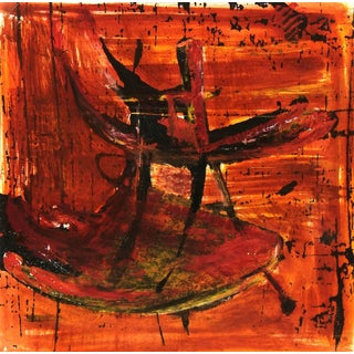C. Heino, Vibrant Red and Orange Modern Abstract For Sale