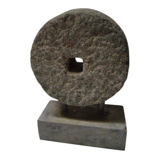 19th Century Primitive Stone Carving Wheel For Sale