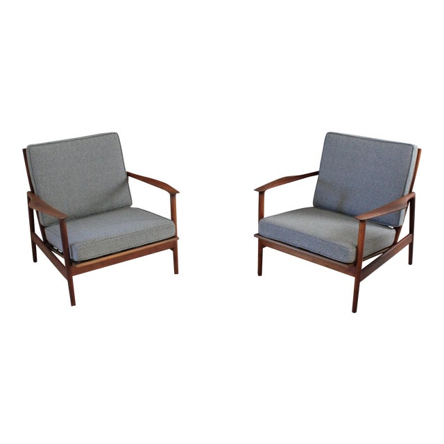 1960s Vintage Danish Modern Kofod Larsen for Selig Walnut Lounge Chairs- a Pair For Sale