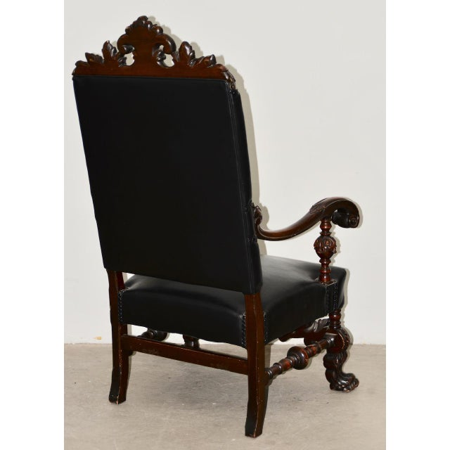 Brown 19th Century Jacobean Walnut Hand Carved Arm Chair W/ Leather Upholstery For Sale - Image 8 of 9