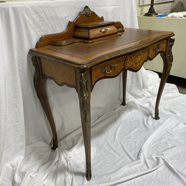 How sweet is this desk? Beautiful French ladies writing desk with leather top and delicately decorates marquetry with...