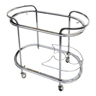 1970s Mid-Century Modern Chrome Bar Cart For Sale