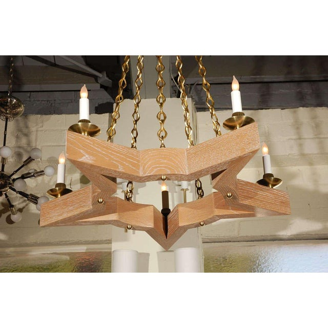 Paul Marra Star Chandelier in Oak For Sale - Image 10 of 10