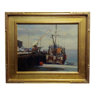 1990s Impressionist Oil Painting, California Industrial Port by Brian Blood For Sale