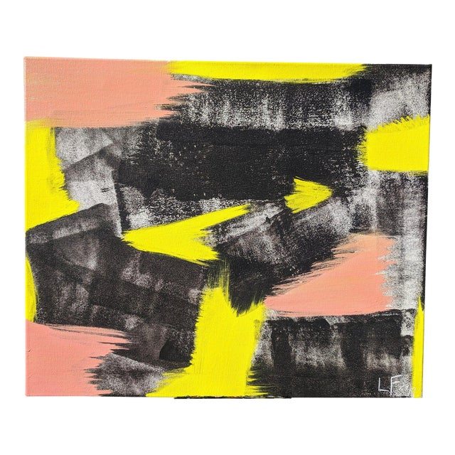 Original Abstract Neon Lime Salmon Pink and Black Painting For Sale