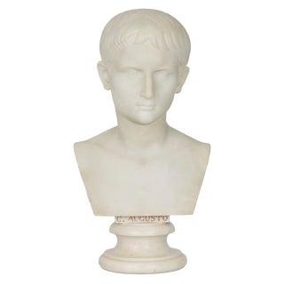 19th Century Antique Italian Grand Tour Period Marble Bust of Caesar Augustus For Sale