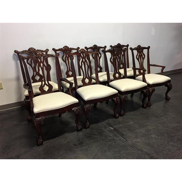 This set of dining chairs is made from solid mahogany by Thomasville, from their Mahogany Collection. Chippendale style...