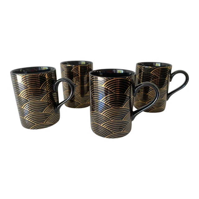 """1980s Fitz and Floyd Art Deco """"Waves"""" Mugs - Set of 4 For Sale"""