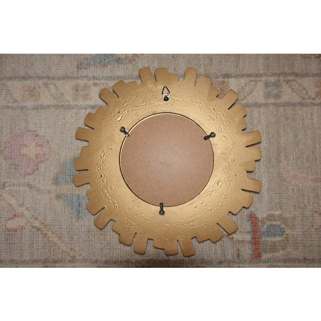 Wood Vintage Mid Century Mid-Century Modern Sunburst Convex Gold Wall Mirror For Sale - Image 7 of 8