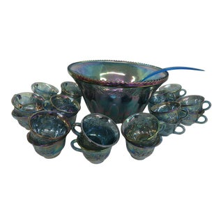 Indiana Harvest Grape Style Carnival Glass Set of Punch Bowl and 22 Cups For Sale