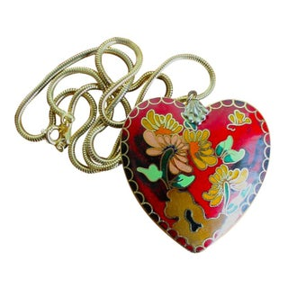 Enamel Embossed Heart Pendant Necklace