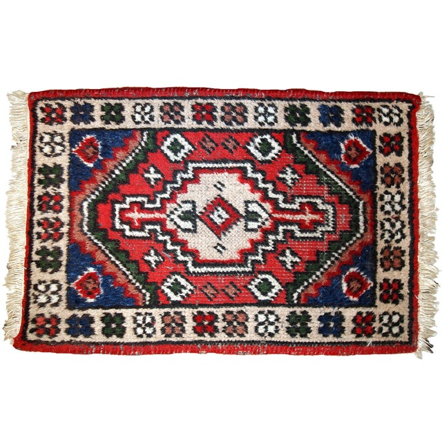 1970s, Handmade Vintage Persian Hamadan Rug 1.3' X 1.9' For Sale - Image 9 of 10