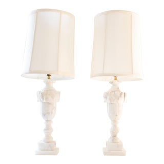Marble Lamps, Traditional Italian / Neoclassical Urn Design - A Pair