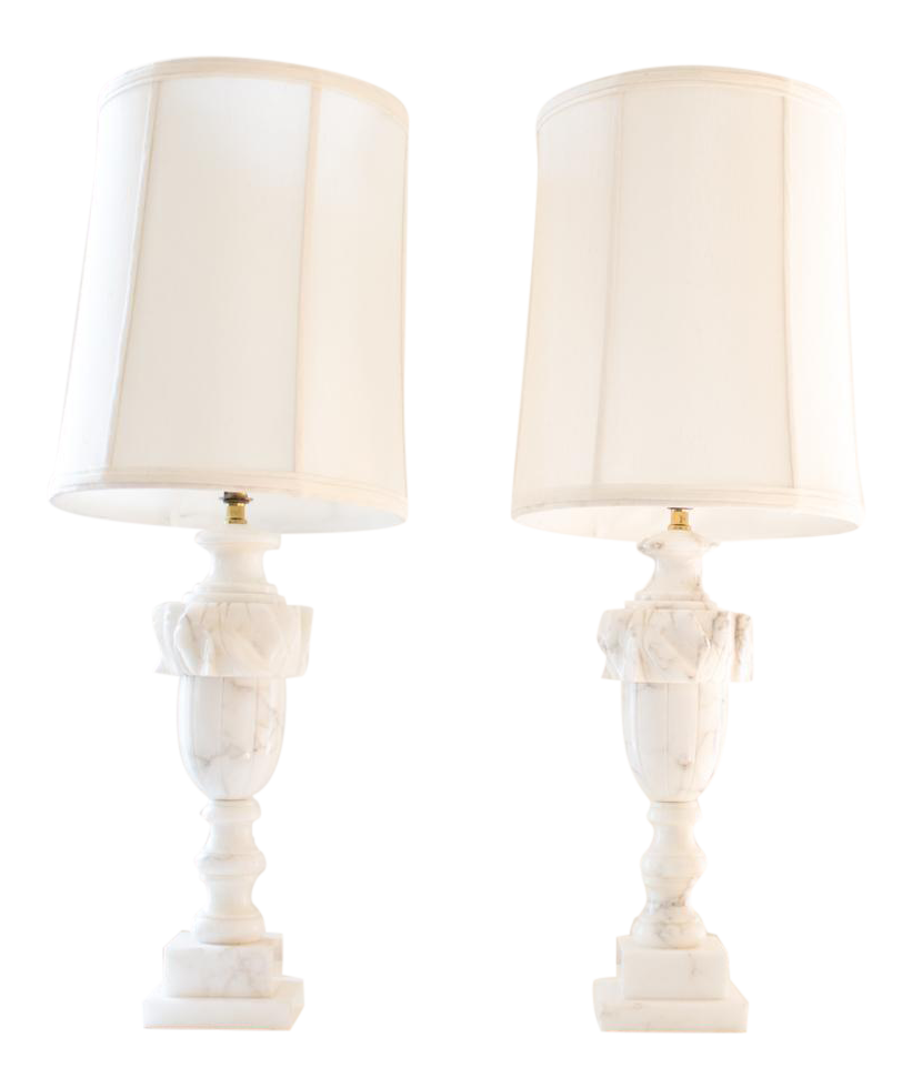 Marble Lamps, Traditional Italian / Neoclassical Urn Design   A Pair