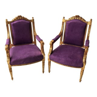 Vintage Purple Throne Chairs - a Pair For Sale