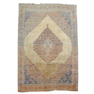 Blue & Cream Tabriz Carpet - 9′6″ × 12′ For Sale