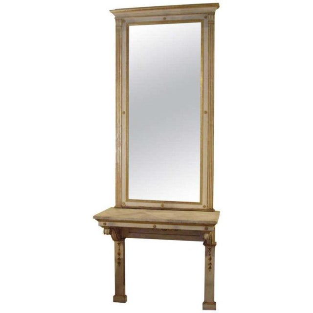 Wood 19th C. Italian Neoclassical Style Painted Console and Mirror For Sale - Image 7 of 7